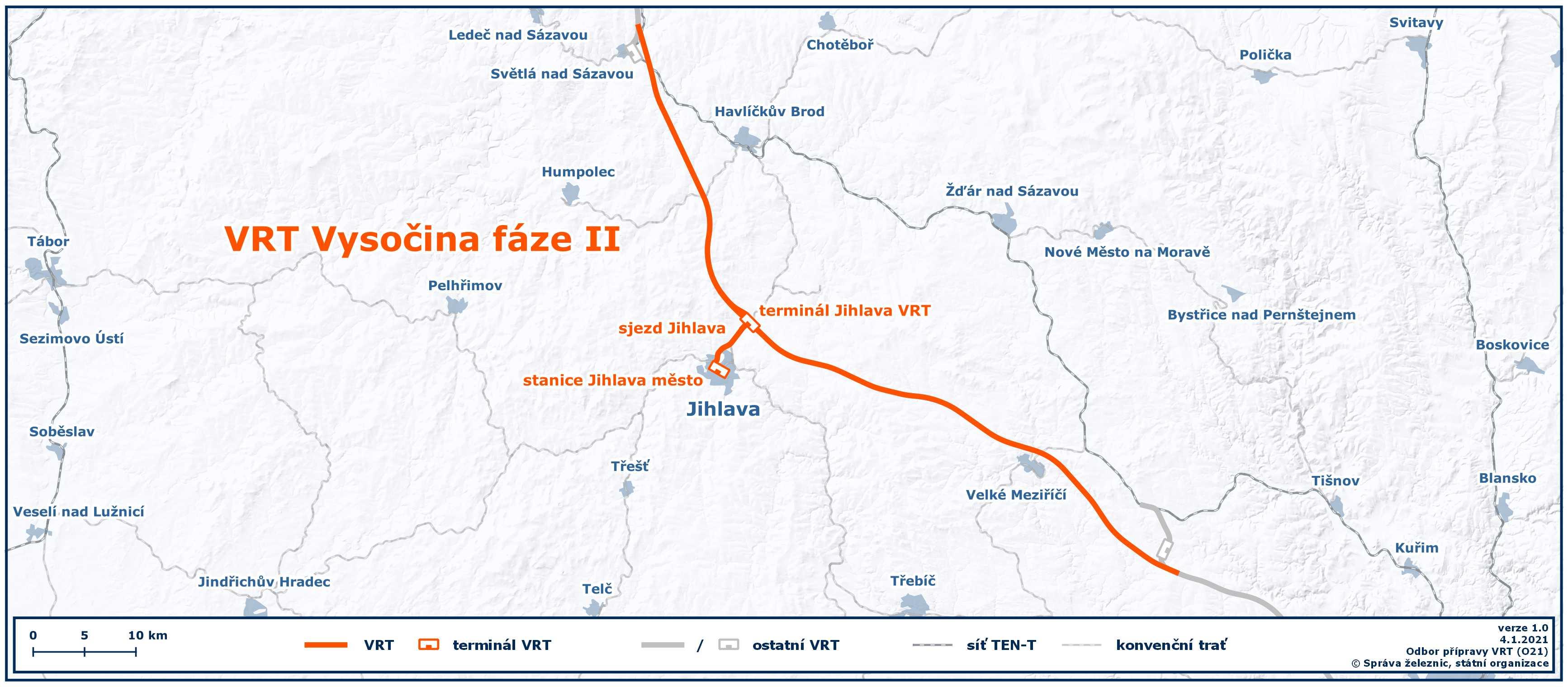 Mapa VRT Vysočina II.fáze
