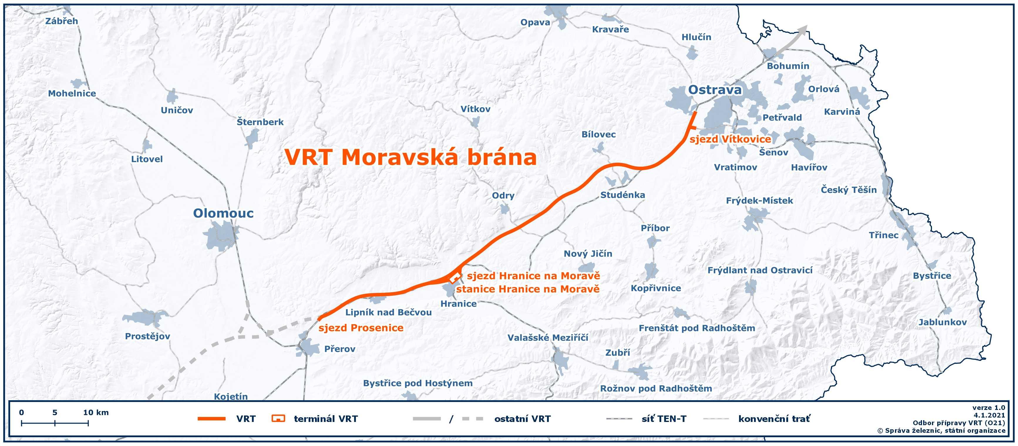 Mapa VRT Moravská brána