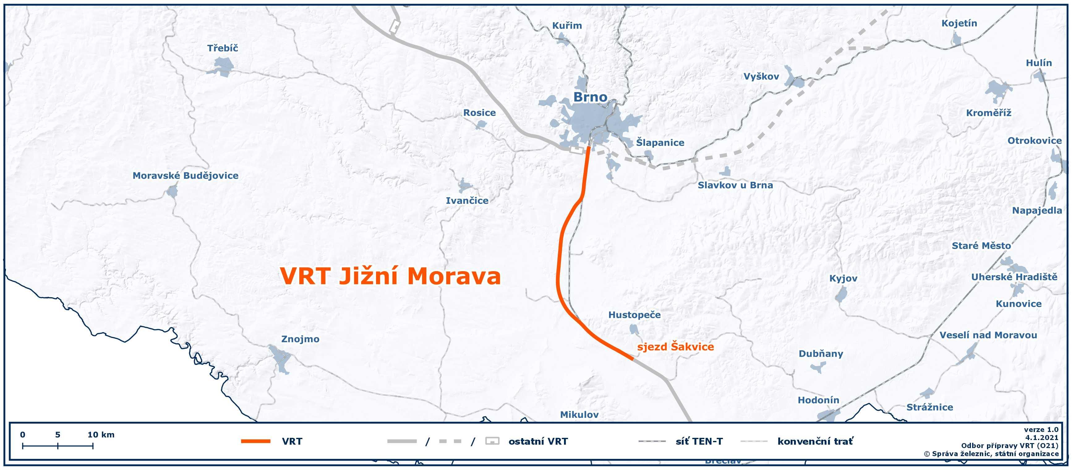 Mapa VRT Jižní Morava