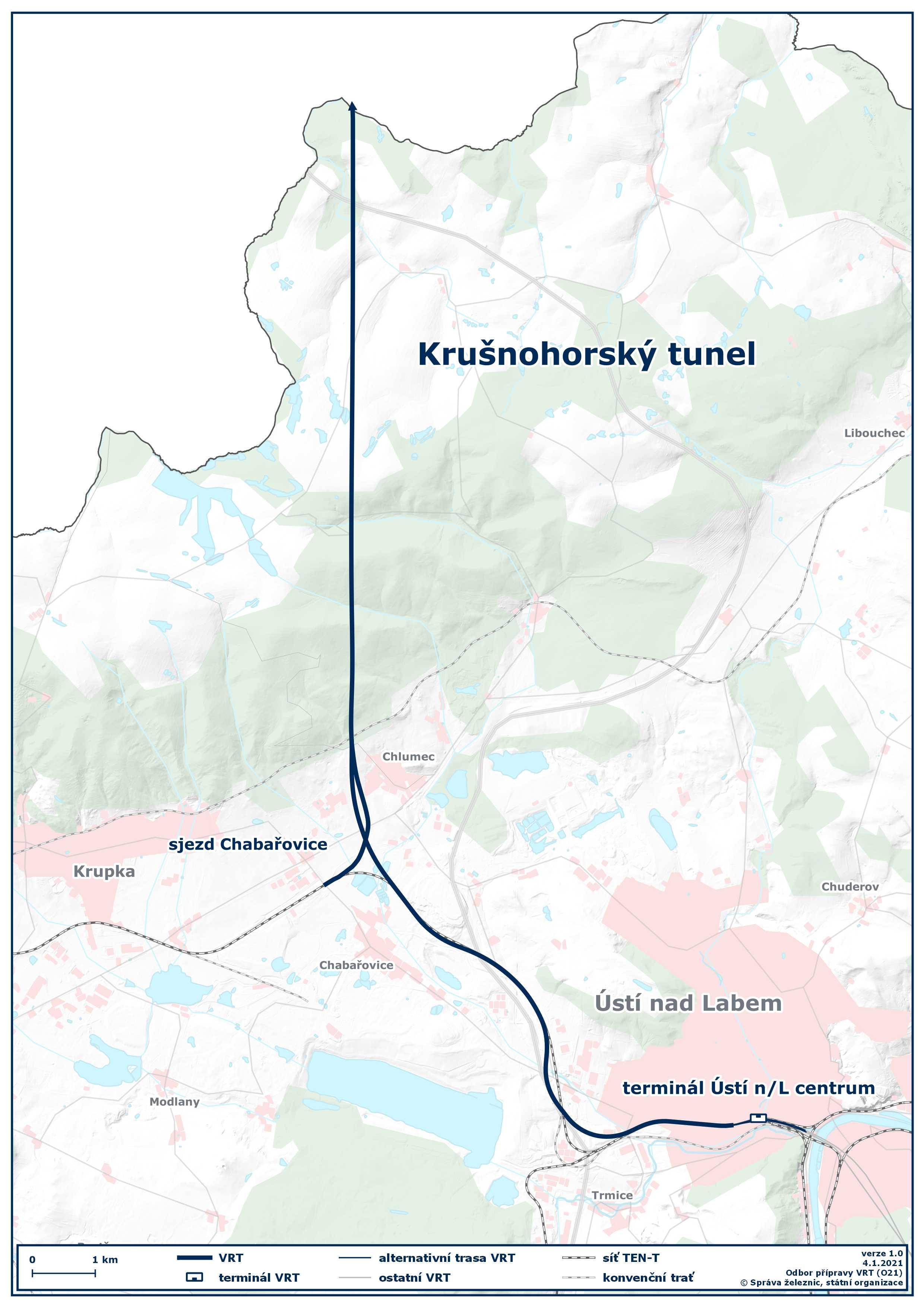 Mapa VRT Krušnohorský tunel