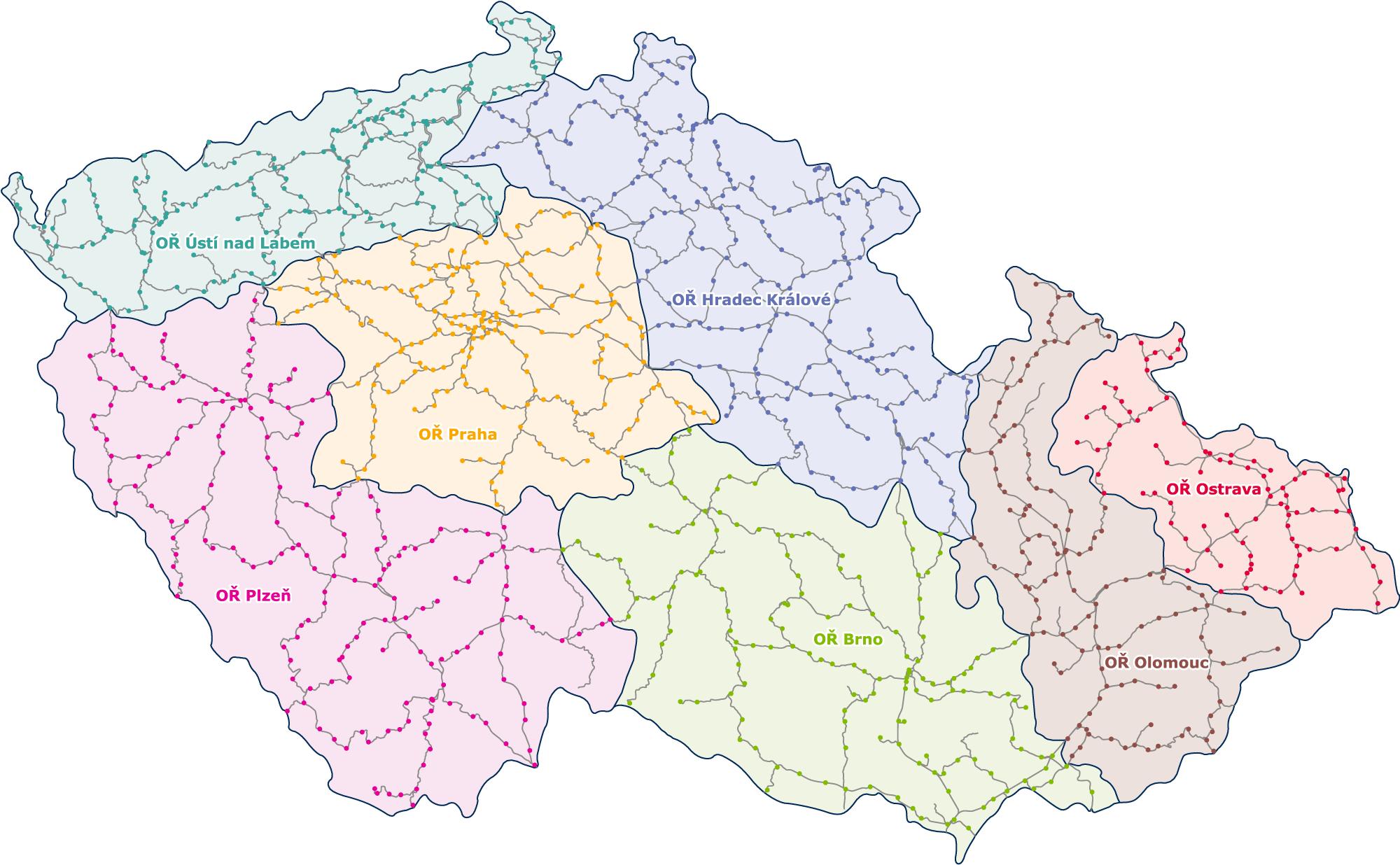 Mapa působnosti oblastních ředitelství Správy železnic