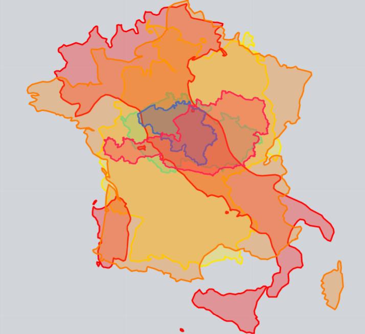 Obrázek: Porovnání velikostí Evropských zemí s vysokorychlostními vlaky.