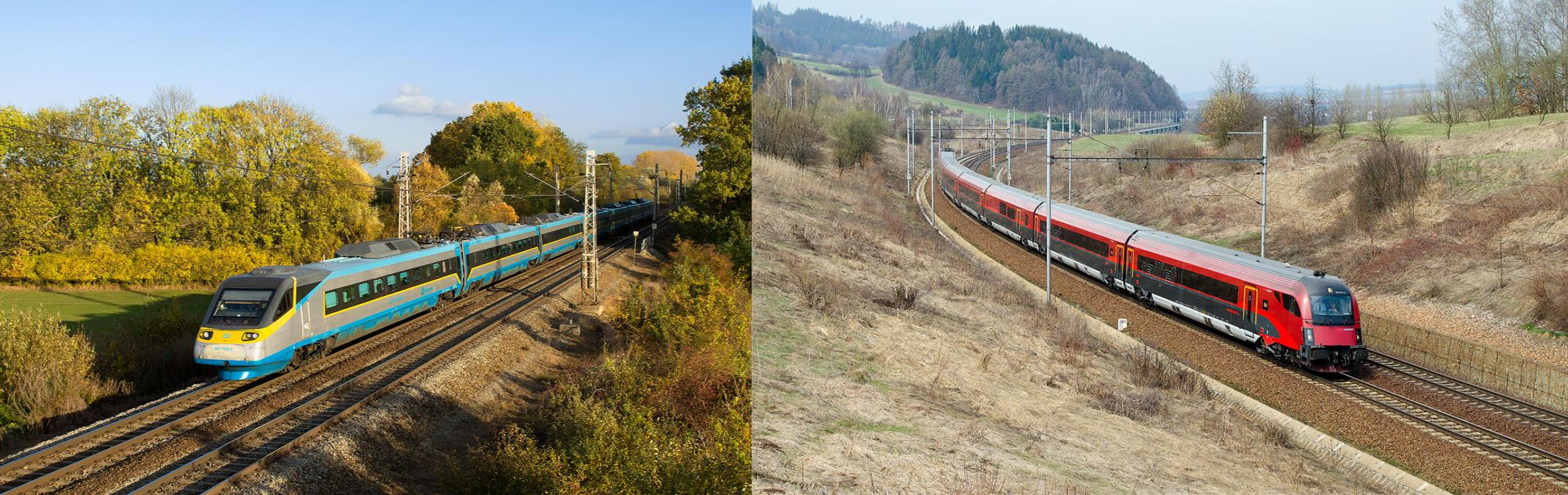 obrázek: Řada 680 ČD Pendolino/ÖBB Railjet + ÖBB Taurus