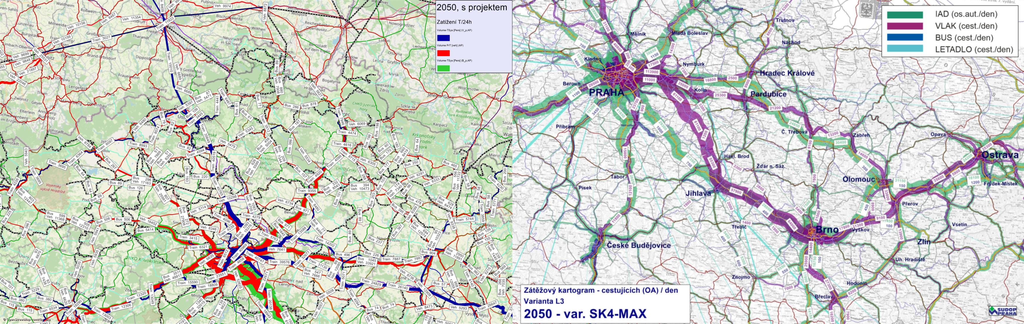 Obrázek: Zátěžový diagram SP Praha - Drážďany a SP Praha – Brno - Břeclav